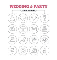 Wedding and party icon Dress diamond ring vector image