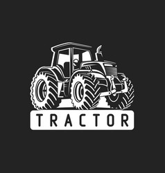 White tractor on black background vector