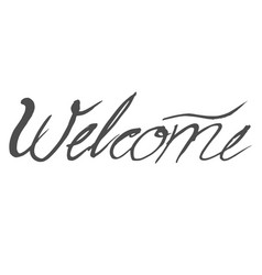 Word welcome in handwriting style vector