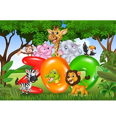 Word zoo with cartoon wild animal africa vector
