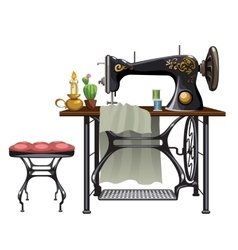 Workplace of seamstress on white background vector