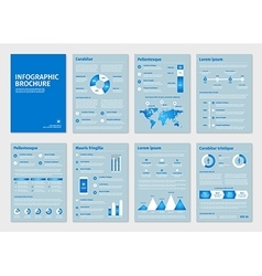 Blue business A4 brochures with infographic vector image