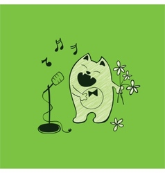Cat and song vector image vector image