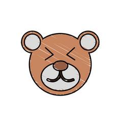 Cute bear drawing animal vector