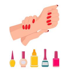 hands and nail polish poster vector image