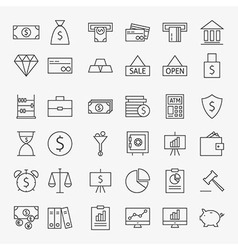 Line Banking Money and Finance Icons Big Set vector image