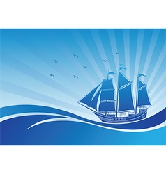 Sail ship background3 vector image