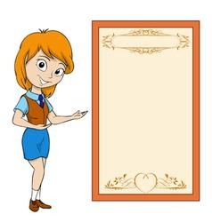 smiling cartoon girl vector image vector image