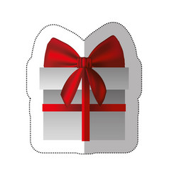 sticker gray gift box with red ribbon vector image