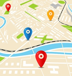 Abstract city map with color pins Flat design vector image vector image