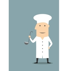 Cartoon chef in white uniform with ladle vector image vector image