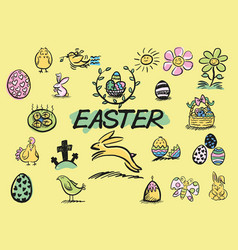 Easter hand drawn doodles vector