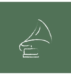 Gramophone icon drawn in chalk vector image vector image