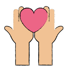 hands up with heart love isolated icon vector image vector image