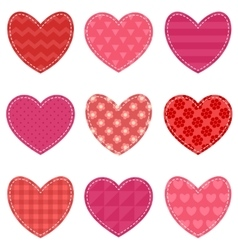 Set of red and pink hearts vector image vector image