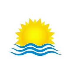 Sun and sea waves Travel logo template vector image