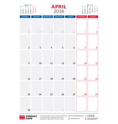 april 2018 calendar planner design template vector image