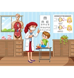 Doctor giving treatment to little boy in clinic vector image