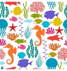 Marine life seamless pattern with sea animals vector image vector image