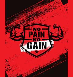 No pain no gain gym workout motivation quote vector