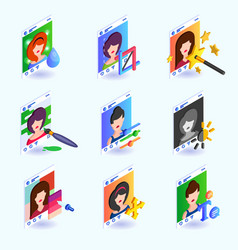 photo editing instruments for a social network vector image