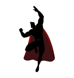 silhouette of a superhero in flying pose vector image