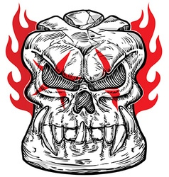 skull sketch design with flame vector image vector image