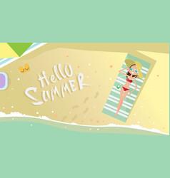 woman lying on summer beach vacation seaside sand vector image vector image