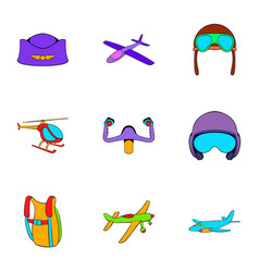 aircraft icons set cartoon style vector image
