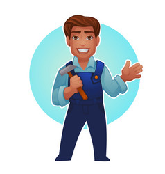 cartoon worker proffessional man for your mascot vector image vector image