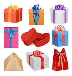 gift box mockup set realistic style vector image vector image