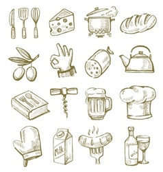 hand drawn kitchen vector image vector image