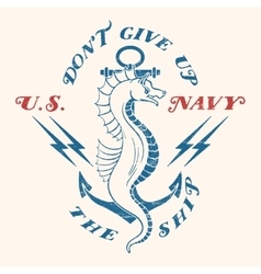 Sea horse with an anchor vector image vector image