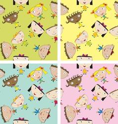 Set of children patterns vector image vector image