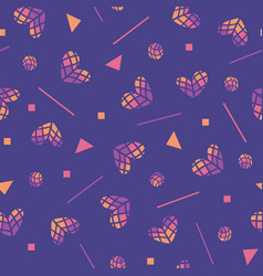 80s seamless pattern with hearts and vector image