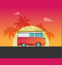 a retro travel car vector image