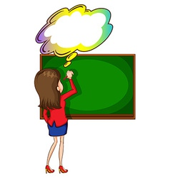 A teacher writing at the board with an empty vector image