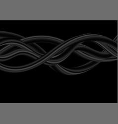 Abstract black 3d liquid waves background vector