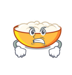 Angry cottage cheese mascot cartoon vector