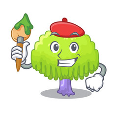 Artist isolated weeping willow on the mascot vector