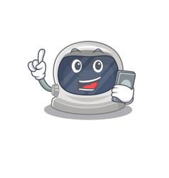 Astronaut helmet character speaking on phone vector