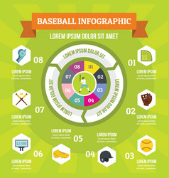 baseball infographic concept flat style vector image