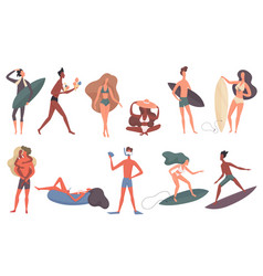 beach people set cartoon flat vector image