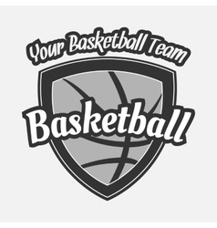 Black and white Basketball Label with Ball vector image
