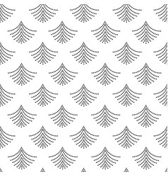 Black dotted fan shape pattern on white vector