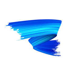 Blue gouache paint brush stroke realistic vector