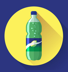Bottle of soda with green lable vector