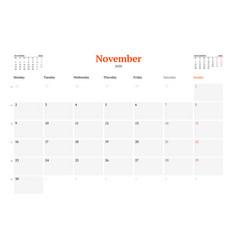 Calendar template for november 2020 business vector