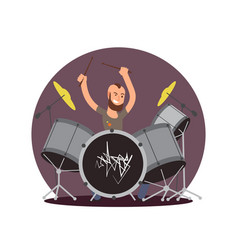 Cartoon character drummer flat musician vector