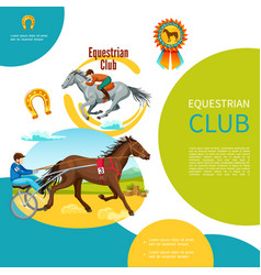 Cartoon equestrian club colorful template vector